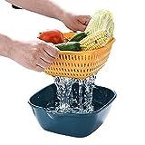 YRHH Fregadero Multifuncional, Canasta de Frutas, Canasta de Drenaje Doble, Canasta de Pan, Canasta de Vegetales Cuadrada de plástico es Muy Adecuada para la Cocina