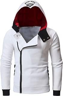 Men's Autumn Oblique Zipper Hoodies Funnel Neck Full Zip Hooded Sweatshirt