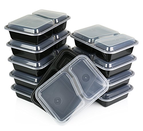 ChefLand 07496 2 Compartment Microwavable Food Container with Lid Divided Plate, Bento Box, Lunch Tray with Cover and Microwave Safe, 10-Pack , Black