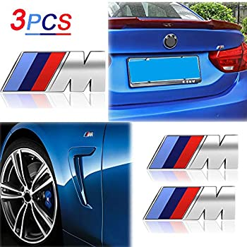 KENPENRI M Badge Rear Emblems Fender Side Emblems - M Sport Badge 3D Nameplate Car Decal Logo Sticker Compatible for M M3 M5 X1 X3 X5 X6 E30 E34 E36 E39 E46 E60 E90 E92 - Silver(3 PCS)