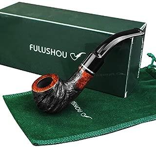 FULUSHOU Mediterranean Briar Wood Tobacco Pipe, Mini Carving Bend Tobacco Pipe,Dad Gift