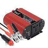 Inversor de Corriente de 600 W, convertidor de Voltaje de Coche imoli Potencia Pico 1200 W Puertos USB duales Tomacorriente de CA Universal Onda sinusoidal modificada DC 12V a AC 220V Transformador