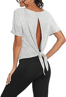 Bestisun Women's Cute Yoga Tank Top Tie Back Activewear Workout Shirt