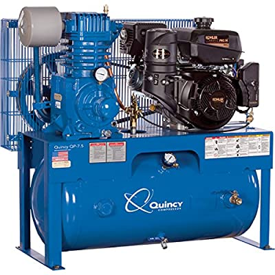 Quincy QP-7.5 Pressure Lubricated Reciprocating Air Compressor - 14 HP Kohler Gas Engine, 30-Gallon Horizontal, Model Number G314K30HCE from Quincy Compressor