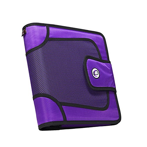 Case-it Open Tab Velcro Closure 2-Inch Binder with Tab File, Purple