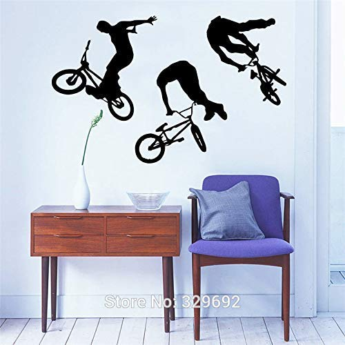 Applique Art Wohnkultur Wandbild Jump Bike Radfahrer Bmx Freestyle Springen Wandtattoo Extremsport Wandaufkleber Jungen Zimmer Vinyl 60 * 90 Cm60 * 90 Cm