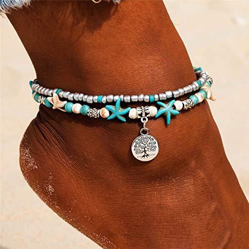 ZBXCVZH Tobilleras de estrella de mar con cuentas de concha para mujer, tobillera de playa, pulsera hecha a mano, joyería bohemia, regalo (color de metal: F168)
