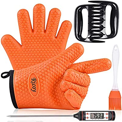 Ricoy Grilling Accessories,BBQ Gloves,Meat Claws, BBQ Thermometer and Silicone Brush Superior Value Premium Set (4pcs Set)-Heat Resistant/Silicone Thickened Gloves