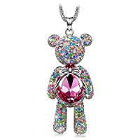 "J.NINA ""Bear Princess"" Made with Pink Swarovski Crystals Cute Bear Design Women Jewelry Necklace"