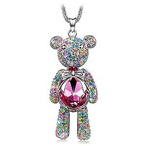 "J.NINA ""Bear Princess"" Made with Pink Swarovski Crystals Cute Bear Design Women Jewelry Necklace"