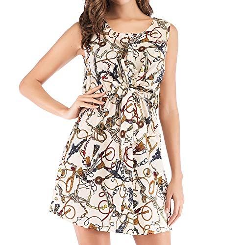 Hanks 'Shop. Kleid Art und Weise gedruckte tiefer V-Ausschnitt Tie-Kleid (Color : As Show)