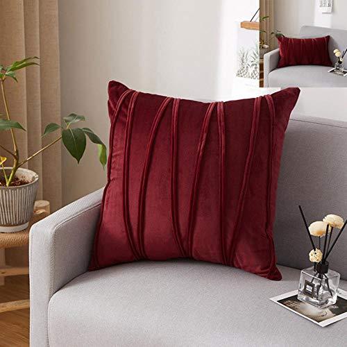 MU-PPX Fundas de Almohada de Tiro a Rayas Funda de Almohada de Color sólido Decorar el sofá Fiesta en casa Funda de cojín Cuadrada Suave , Rojo Burdeos , 30x50cm 1pc