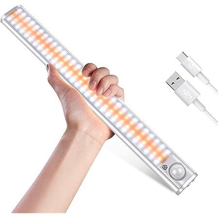 Lampe de Placard 120 LED Lumière d'Armoire Eclairage Placard Détecteur de Mouvement Rechargeable USB Gradation en continu 3 Modes d'Éclairage Automatique Eclairage 1800mAh Batterie