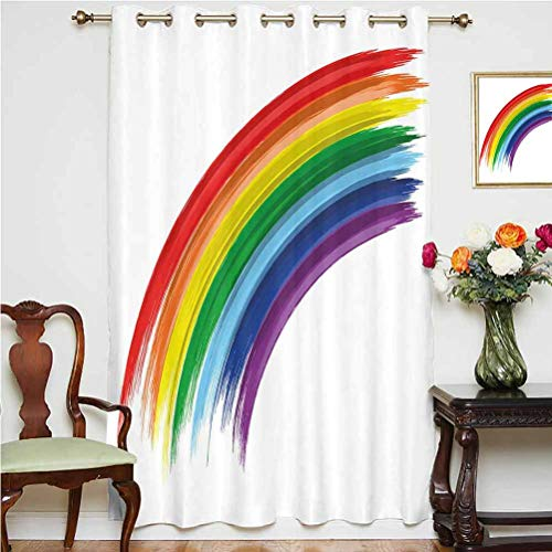 Rainbow Blackout Patio Door Curtains Abstract Brush Marked Rainbow Pattern with Realistic Feel Pride Week Love Freedom Decorative Grommets Panels Printed Curtains ,Single Panel 63x63 inch,for Office M
