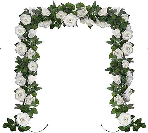 ASHINER Fleurs Artificielle Deco, Fausses Guirlande de Rose Decoration pour Les Murs de Jardin du Salon de la Chambre pour Les Mariage d'Anniversaire Intérieur et Extérieur, 2pcs x 2,3 Mètre, Blanc