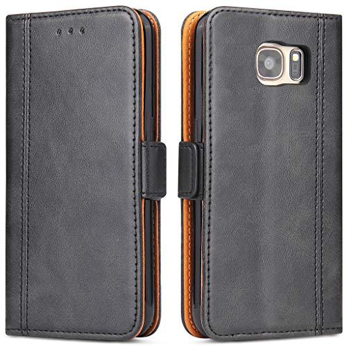 Bozon Galaxy S7 Edge Hülle, Leder Tasche Handyhülle für Samsung Galaxy S7 Edge Schutzhülle Flip Wallet mit Ständer und Kartenfächer/Magnetverschluss (Schwarz)