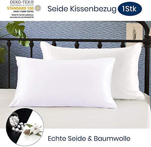 LilySilk Seide Kissenbezug 40x80 Kissenhülle Uni Unterseite von Baumwolle mit Reißverschluss 1 Stück Wende Kissen Seidenbezug Weiß Verpackung MEHRWEG in Beutel
