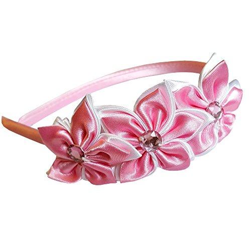 EROSPA® Haar-Reif für Mädchen mit Blumen Blüten und Glitzerstein Haarreif - rosa
