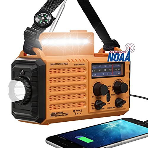 Weather Radio, 5000mAh Battery Solar Hand Crank Radio,NOAA AM FM Portable Outdoor Radio Rechargeable,Emergency Power Bank for USB Phone Charging,With LED Flashlight,Reading Lamp,SOS Alert for Survival