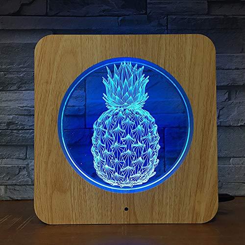 Ananasfrucht 3D LED Kunststoff Nachtlicht DIY Tischlampe Tischlampe Kinderfarben Kindergeschenk Heimdekoration 2174