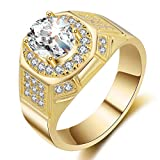 RUI ring Anello da Uomo con zircone, Edizione Deluxe, con Diamanti e Argento, US code13#, Colore: Yellow Gold, cod. 1728585