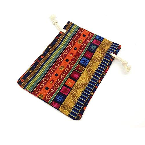 SODIAL 12pc Egyptian Style Jewelry Coin Pouch Print Drawstring Gift Bag Cotton Sachet Candy Travel Purse Ethnic