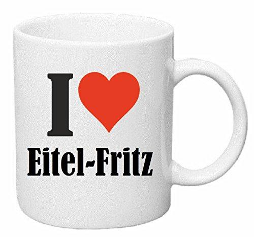 Reifen-Markt Kaffeetasse I Love Eitel-Fritz Keramik Höhe 9,5cm ⌀ 8cm in Weiß