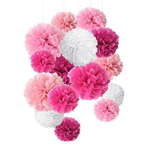 SD SPARKLING DREAM Seidenpapier Pom Pom Papier Blume Ball für Party Dekoration und Feier – 15 Stück von 8, 10, 35,6 cm 8