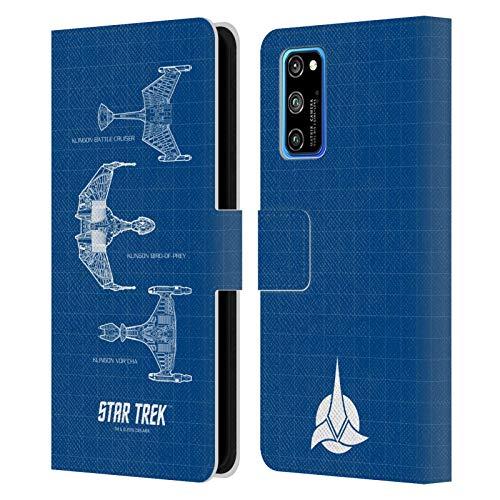Head Case Designs Licenciado Oficialmente Star Trek Naves Estelares Klingon Barcos De La Línea TNG Carcasa de Cuero Tipo Libro Compatible con Huawei Honor View 30 Pro