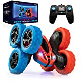 Force1 Crawler 6 Remote Control Car for Kids - 6 Wheeled RC Car Double Sided Driving with LEDs, 360 Flips, All Terrain RC Crawler Wheels, and 2.4 GHZ Remote Control, Red/Blue
