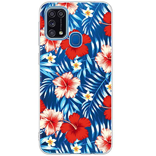 Carcasa Samsung Galaxy M31 Funda Transparente Suave Silicona TPU Estuche Flor Hojas Vistoso Flor Rosa Patrón Case Ultra Delgado Anti Choque Proteccion Caja para Galaxy M31 (5)