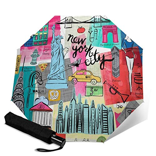 Automatic Umbrella Cartoon New York Cityscape Landmark Umbrella Screen Protect Thick Sun Umbrella Strong Stable Wind-Proof Rain Umbrellas Tiny Lightweight Folding Umbrellas for Women Men Outdoor