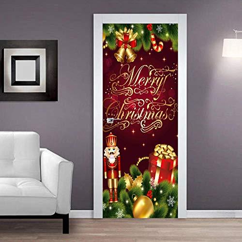 EQNLJA Dörr väggmålning julklapp klocka 3D PVC klistermärke gör-det-själv konst väggmålning dekaler vardagsrum sovrum barnkammare restaurang hotell avtagbar självhäftande dörrklistermärken dekoration 30 x 78 cm