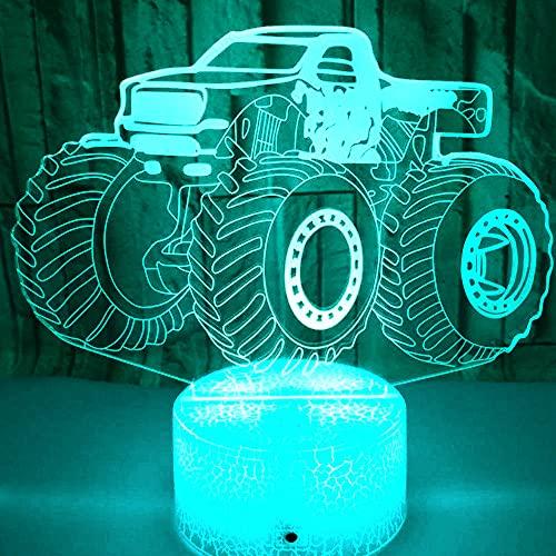 3D Ilusión óptica Lámpara LED Camión tractor Luz de noche Deco 7 colores usb Decoracion Dormitorio escritorio mesa para niños adultos del partido cumpleaños Luces nocturnas de mesa