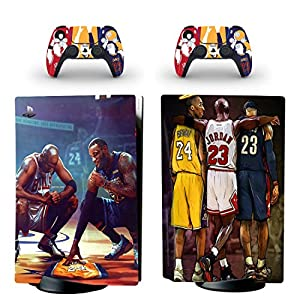 PS5 Skin for Console and Controllers Vinyl Sticker Same Decal Quality for Cars, Kobe James Jordan,, Durable, Scratch Resistant, Bubble-free, Compatible with PlayStation 5 Disk Edition by AZAKKA