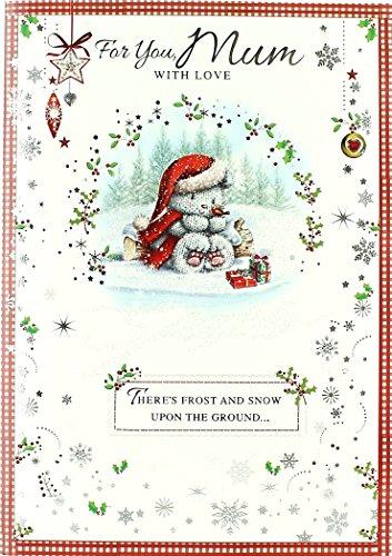 MUM Christmas card–cute Santa Bear, Little Robin, presenta & Log 24,8x 17,1cm