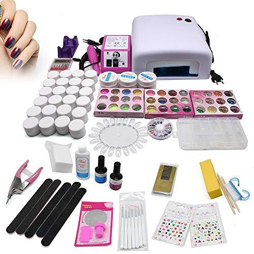 OUKANING Kit de reconstrucción de uñas completo profesional con gel UV, lima, Buffer, pincel, lámpara UV de 36 W, accesorios para decoración de uñas, almohadillas