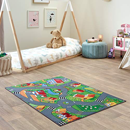 Carpet Studio Teppich Kinderzimmer 95x133cm, Spielteppich Straße Jungen & Mädchen für Schlafzimmer & Spielzimmer, Antirutsch, 30°C waschbar - Little Village