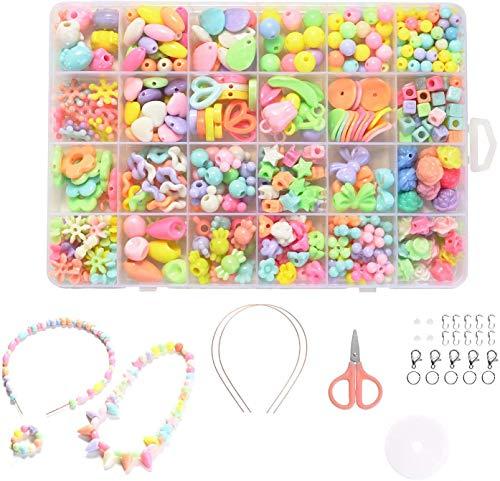 Niños Bricolaje Conjunto de Cuentas - Pulseras Collares de Joyas para Niñas Cuentas para la Fabricación de Joyas para Niños 24 Clases Adecuado para Regalos de Cumpleaños para Niñas Regalos de