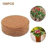 Esplic Bolitas De Fibra De Coco 100PCS, Medio De Cultivo De Fibra De Coco 100 Natural, Tierra para Macetas para Plantar Plántulas