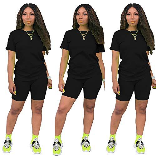 Women's 2 Piece Outfit - Casual Solid color T-Shirts Workout Tracksuit Bodycon Pants Suit Set Jumpsuit Rompers (Black, M)