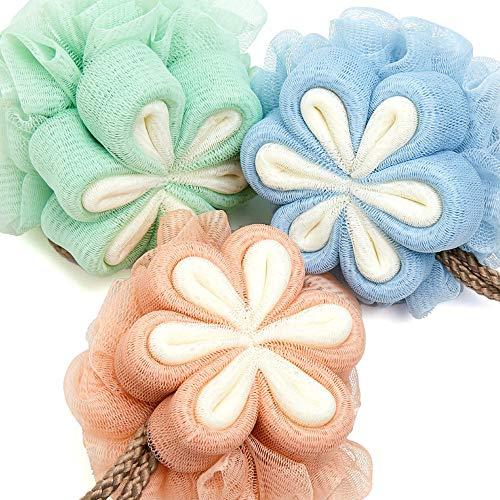 Baignoire Bain Fleur - Bain Loofah Bain Coussin Boule de Douche Boule de Bain Exfoliant avec Crochet - Ensemble 3 Pièces Rose Bleu Vert