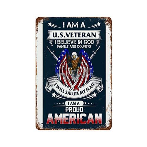 私はアメリカの退役軍人です私は神の家族と国を信じていますさびた錫のサインヴィンテージアルミニウムプラークアートポスター装飾面白い鉄の絵の個性安全標識警告バースクールカフェガレージの寝室に適しています