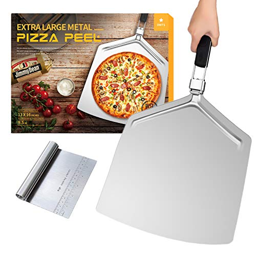 Large Pizza Peel 16 inch | DWTS Pizza Peel Extra Large Pizza Paddle Stainless Steel with Folding Handle for Indoor and Outdoor Pizza Oven.