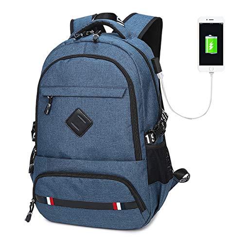 Laptop Backpack, Business Travel Work Computer Rucksack with USB Charging Port, 18 Inch Large Lightweight College LWBN High School Bag for Women Wen - Blue