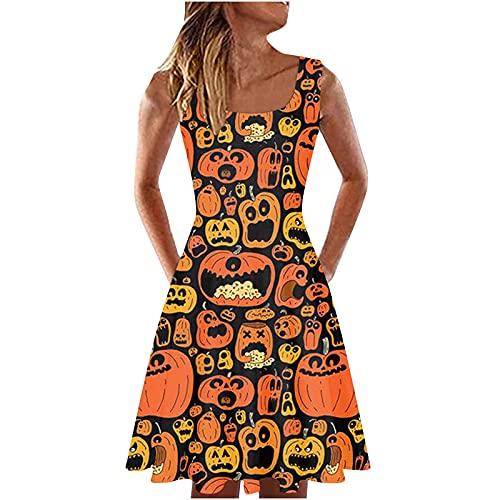 Vestido de mujer con tirantes con impresión Elemento de Halloween Vestido sin mangas sexy con cuello redondo casual vestido de acolchado suelto Dress Party, naranja2, XXL