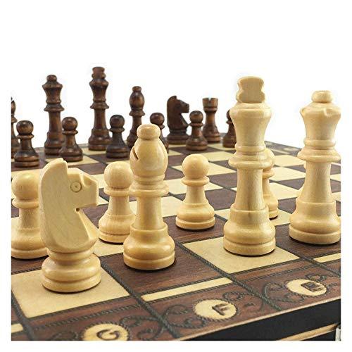 LINWEI Super magnetische hölzerne Schach-Backgammon-Checkers 3 in 1 Schachspiel Antike Schach Reise Schach Set Hölzernes Schachfigur Schachbrett (Farbe: 29 x 29cm) (Color : 29 X 29cm)