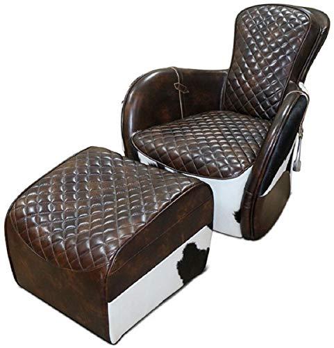 Casa Padrino Echtleder Wohnzimmer Sessel mit Fußhocker Dunkelbraun/Weiß/Schwarz/Silber - Wohnzimmer Möbel - Echtleder Möbel