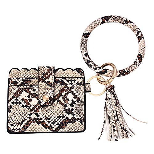 Schlüsselanhänger Geldbeutel Damen Tasche Schlüssel Armband Kunstleder Handtasche Geldbörse Schlüsselhalter mit Schlüsselring Armreif (Gelb)