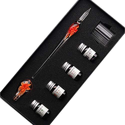 SIPLIV hecho a mano de cristal de intarsia pluma estilográfica kit de pluma estilográfica de firmas de caligrafía con tinta de 4 colores, portalápices, taza de limpieza, naranja